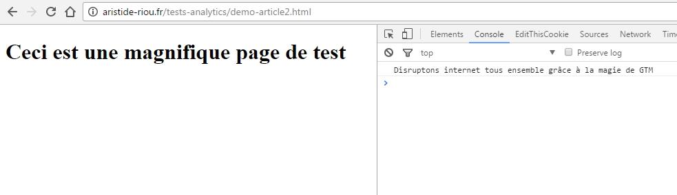 Vérification de la bonne implémentation du console.log inséré via Google Tag Manager