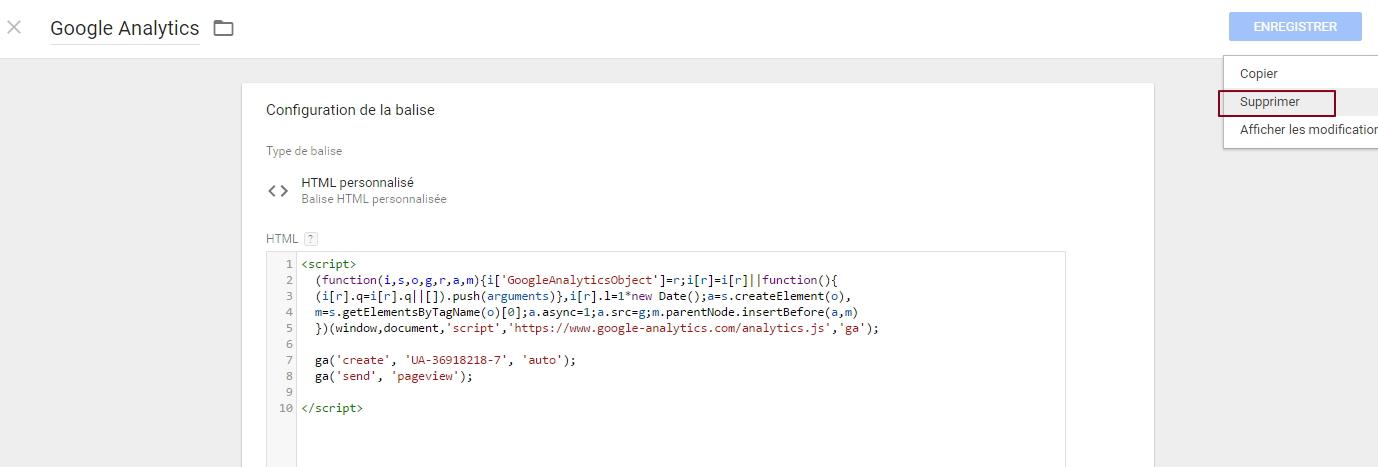 Suppression d'un tag existant dans Google Tag Manager