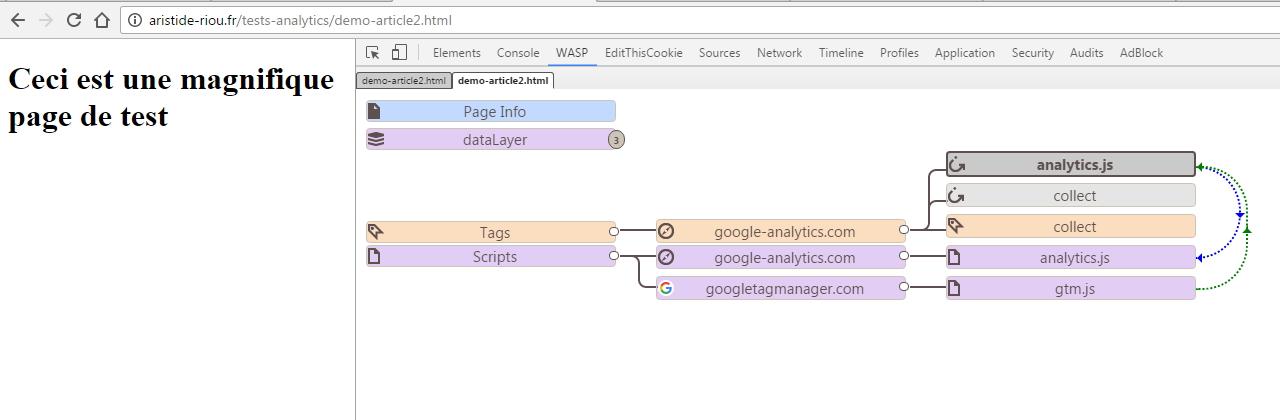Debug d'un tag Google Analytics via WASP, cette fois intégré par le biais de Google Tag Manager
