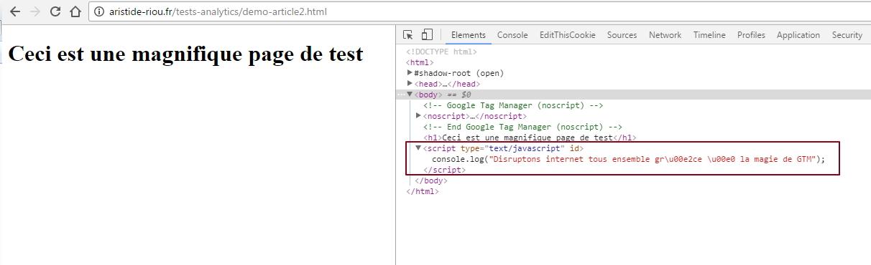 Vérification de la bonne insertion d'un bout de Javascript dans une page via GTM