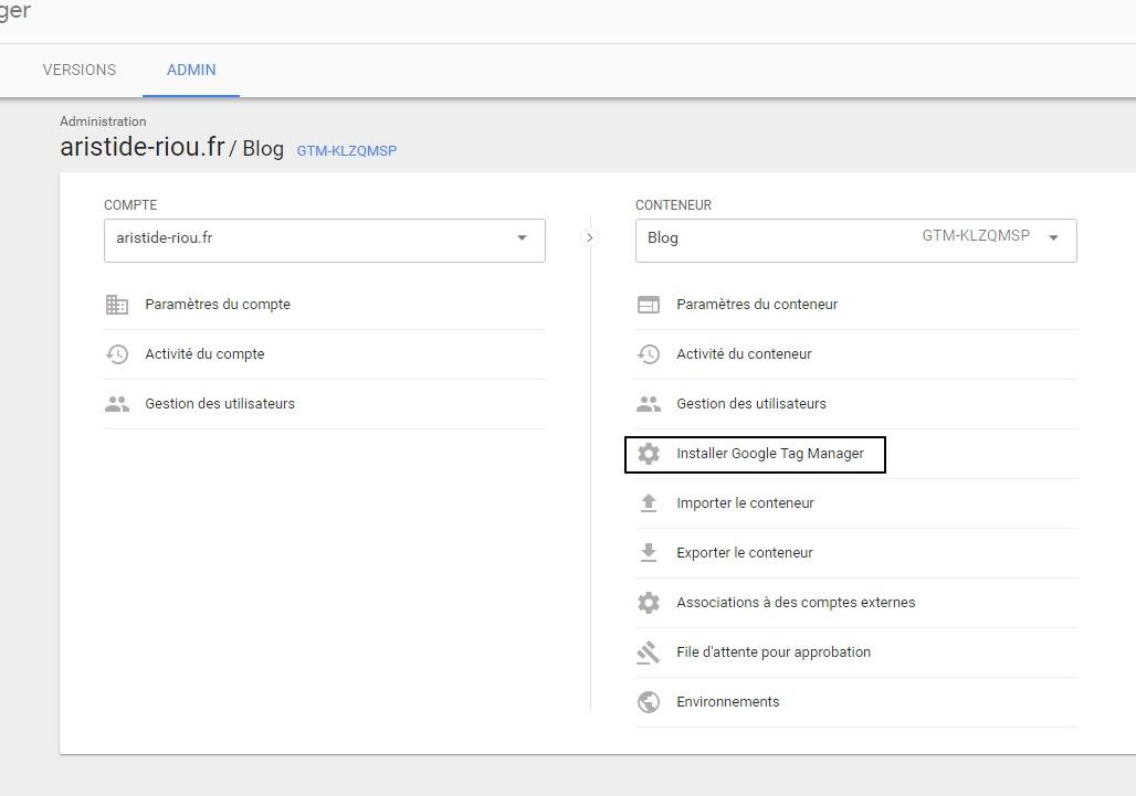 """Mise en avant du clic sur le bouton """"Installer Google Tag Manager"""" dans la console admin"""