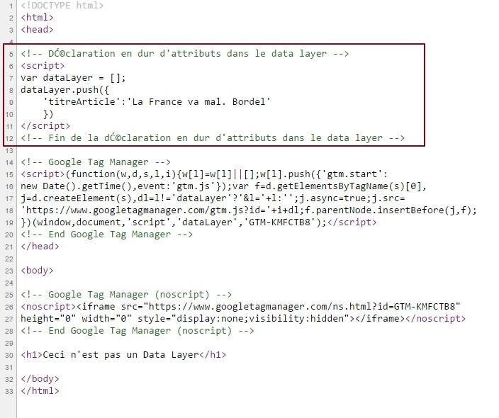 Affichage dans le code source d'uen page web d'attributs data layer envoyés avant le snippet GTM