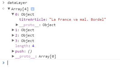 Examen d'attributs data layer en Javascript, comprenant ceux envoyés en dur
