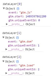 """Examen de l'objet """"dataLayer"""" généré par GTM dans la console de debug"""