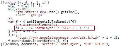 """Mise en évidence de la création de la variable """"dataLayer"""" lors de l'insertion du snippet GTM"""