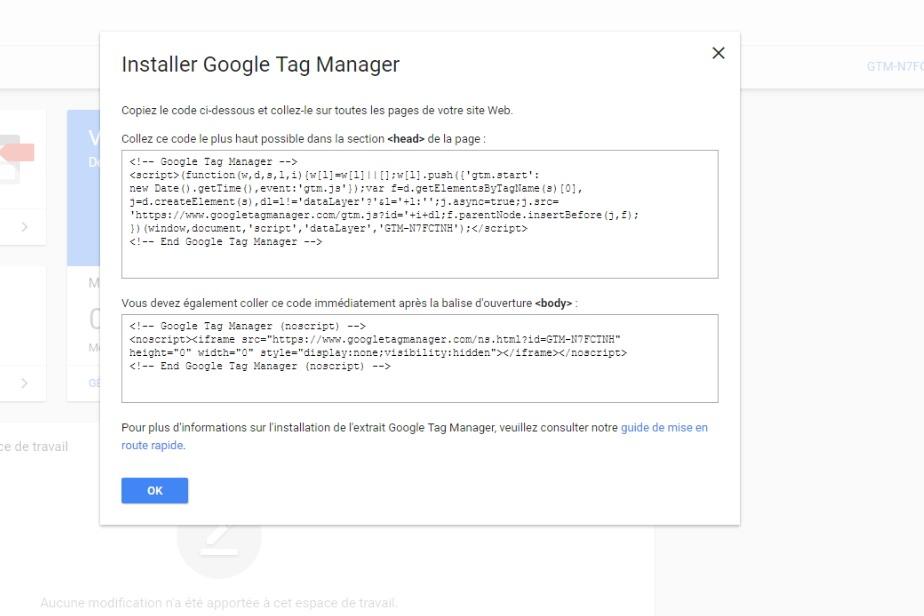 Présentation des instructions d'installation du snippet Google Tag Manager suite à la création d'un compte