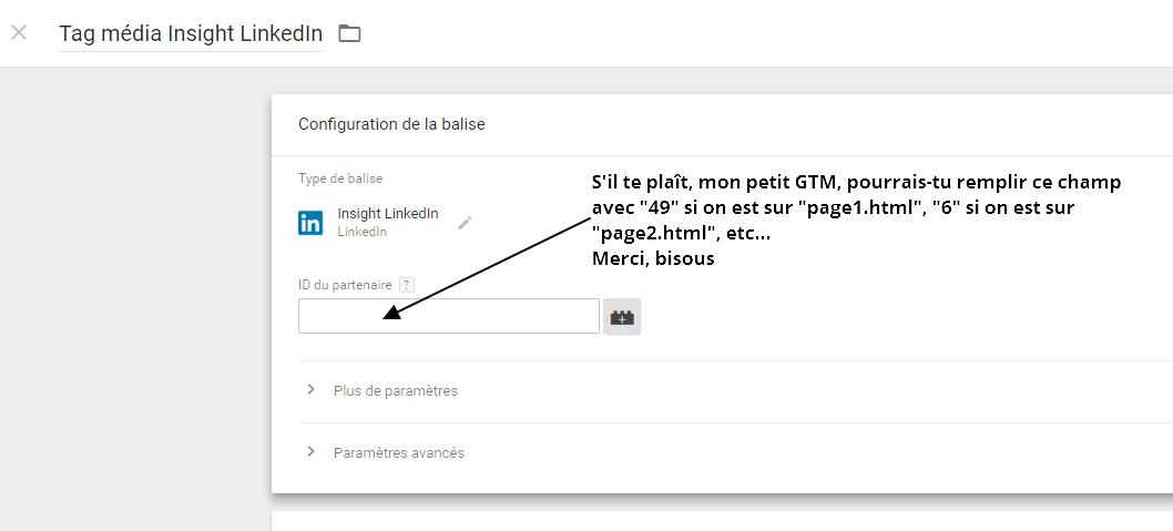 Concept abstrait : remplir de façon conditionnelle un champ dans Google Tag Manager,  selon l'URL de la page