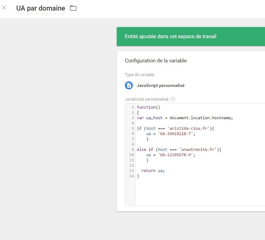 Création d'une variable dans Google Tag Manager qui renvoie un paramètre selon le nom d'hôte de la page