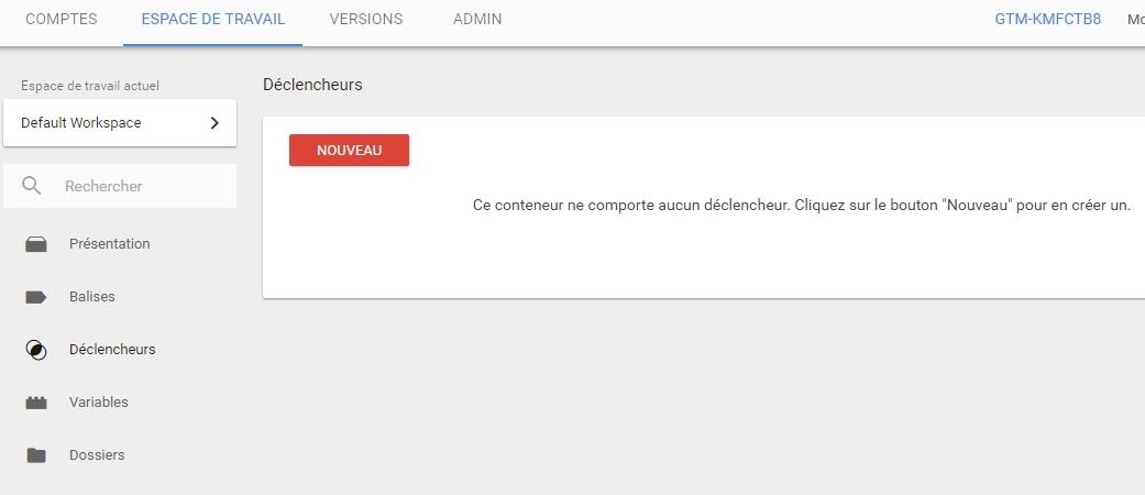 Rubrique des déclencheurs de Google Tag Manager