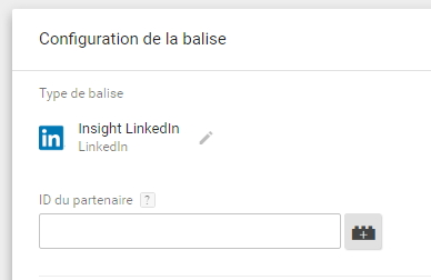Tag media Insight LinkedIn dans Google Tag Manager