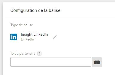 Tag media Insight LinkedIn dans Google Tag Manager