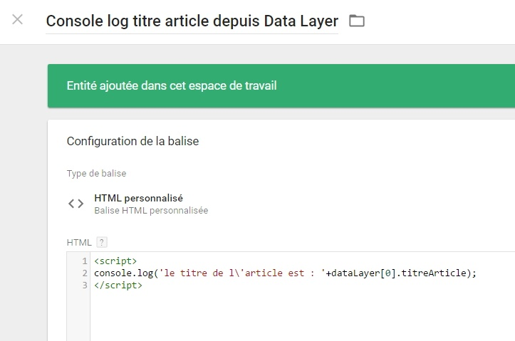 Récupération d'un attribut data layer via un tag HTML custom dans GTM