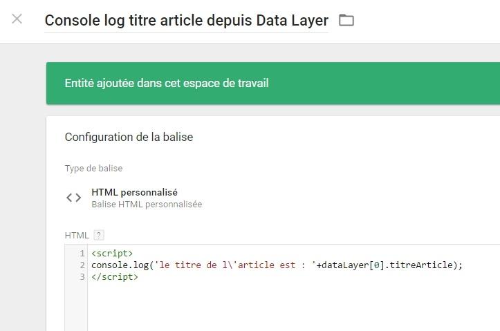 Récupération d'un attribut data layer via un tag HTML custom dans GTM