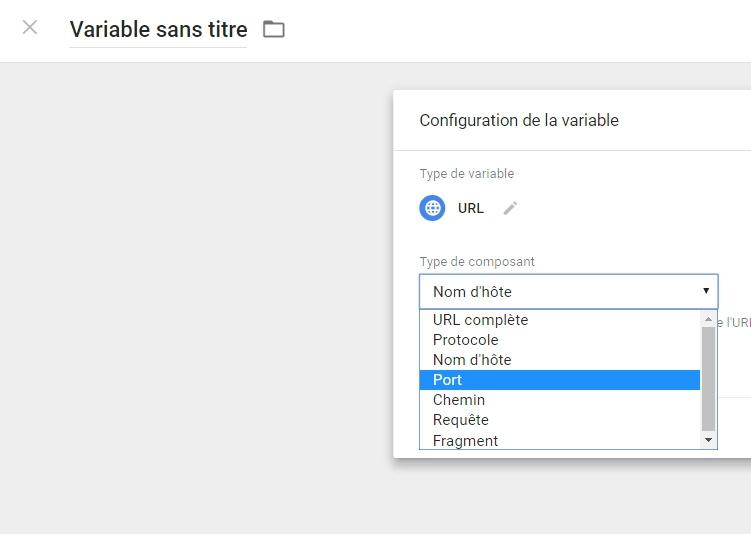 """Les différents composants de la variable intégrée """"URL"""" dans Google Tag Manager"""