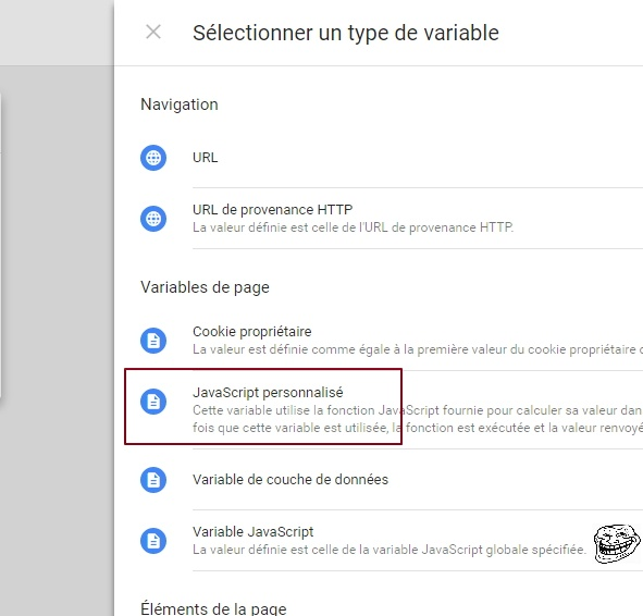 """Où trouver, dans Google Tag Manager, la variable """"Javascript personnalisé"""""""