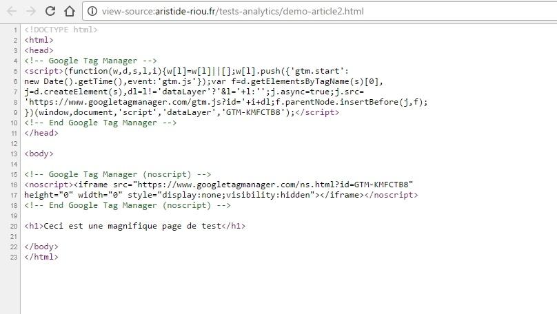 Vérification de la présence du snippet Google Tag Manager directement dans le code source