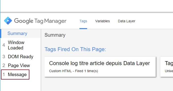 "Attribut ""message"" dans le volet de preview de Google Tag Manager"