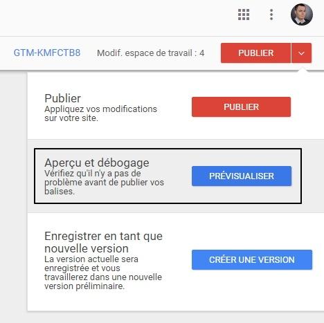 """Clic sur bouton """"Prévisualiser"""" de Google Tag Manager pour déclencher le mode preview"""