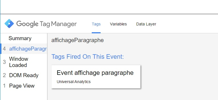 Visualisation d'un event custom dans le volet de preview de Google Tag Manager