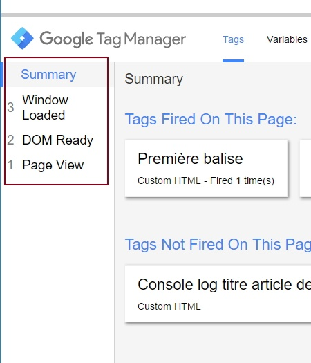 Historisation des events dans le volet de preview de Google Tag Manager