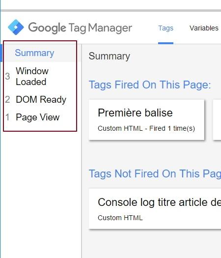 Historisation des events dans le volet de preview de Google Tag Manager