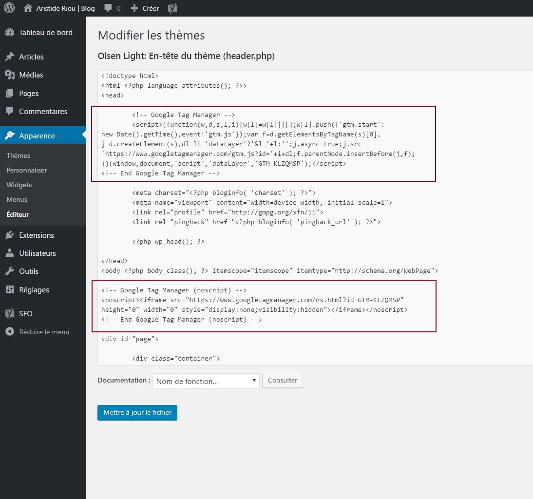 Insertion du snippet Google Tag Manager directement dans l'éditeur de WordPress