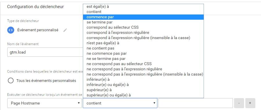Liste des filtres accessibles lors de la création d'un déclencheur dans Google Tag Manager