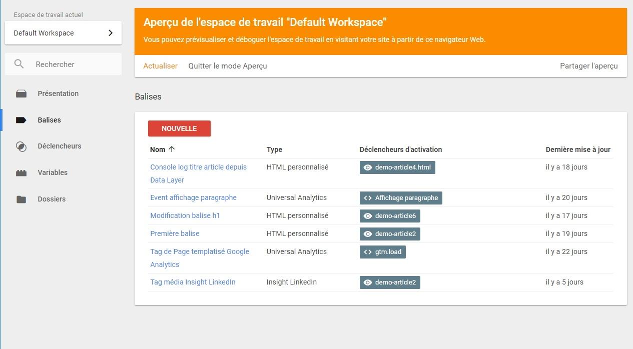 Activation du mode aperçu dans l'espace de travail de Google Tag Manager