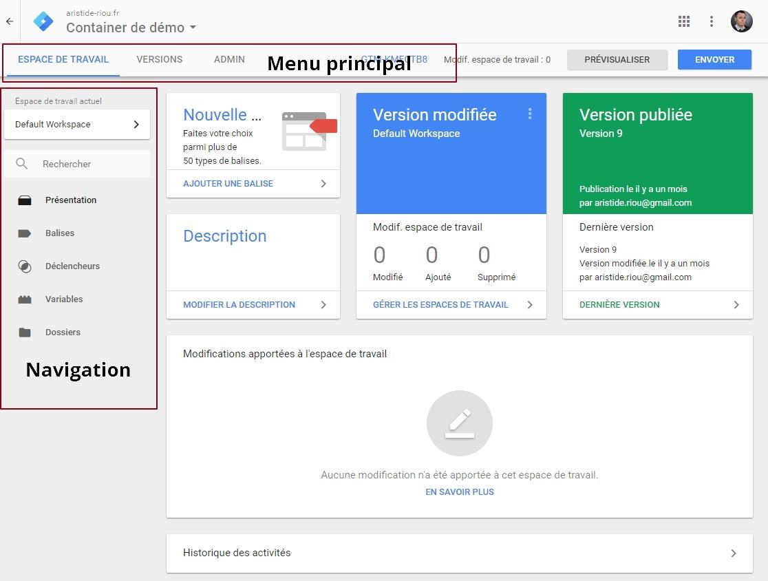Présentation des différents menus de Google Tag Manager