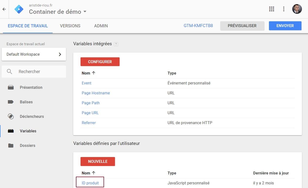 """Variable """"ID produit"""" créée manuellement dans dans Google Tag Manager"""