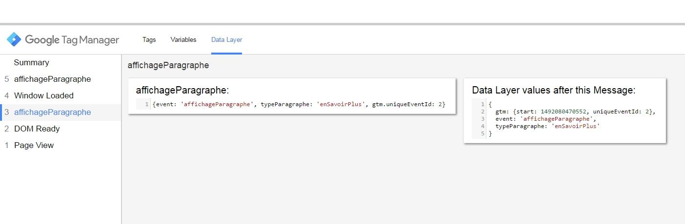 Vérification de l'état du data layer dans le volet de preview GTM