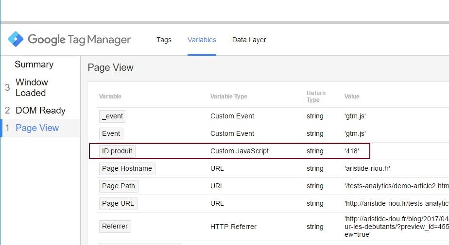 Vérification de la valeur d'une variable dans le volet de preview de Google Tag Manager